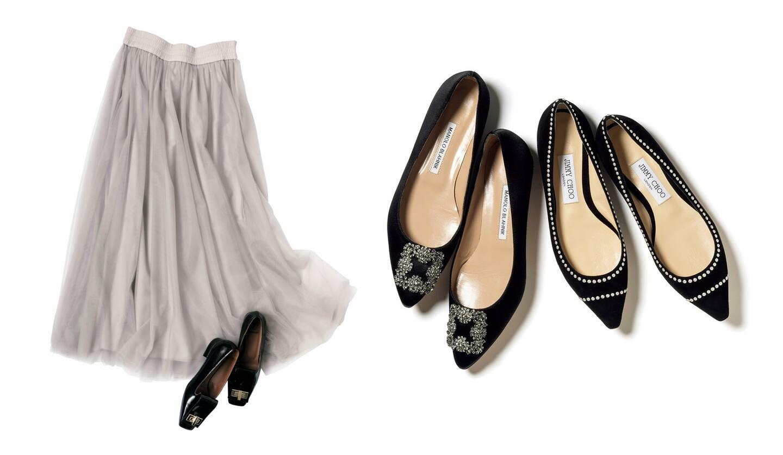 左/スカート¥109,000(アオイ〈ファビアナフィリッピ〉)、靴¥51,000(ユナイテッドアローズ アトレ恵比寿 ウィメンズストア〈ロートレ ショーズ〉)、右/(左から)¥144,000(ブルーベル・ジャパン〈マノロ ブラニク〉)、¥89,000(JIMMY CHOO)
