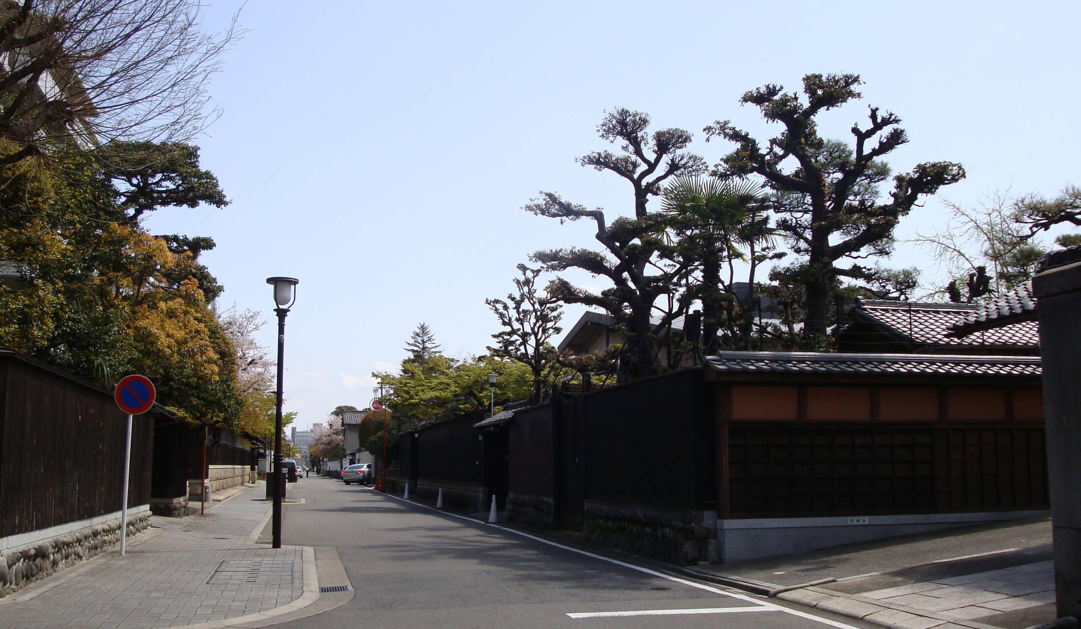 武家屋敷おおモカが残る瓦塀が連なり、塀と家の間には樹々が植わってる通り